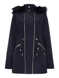 Lipsy Michelle Keegan Double Zip Parka Fur Hood Coat Navy