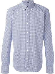 Fay Checked Button Down Shirt Blue