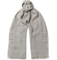 Brunello Cucinelli Checked Cotton And Linen Blend Scarf Gray