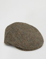 Asos Harris Tweed Flat Cap Khaki Green
