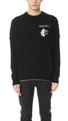Alexander Wang Crew Neck Sweater With Barcode Patches Black