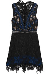 Self Portrait Clementine Guipure Lace Mini Dress Black