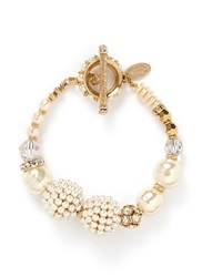 Miriam Haskell Crystal Baroque Glass Pearl Cluster Bracelet White