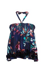 Warm Mai Tai Cropped Halter Top Floral