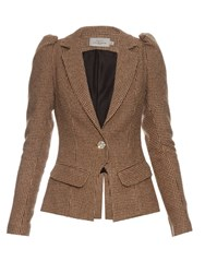 Preen Charles Hound's Tooth Single Breasted Blazer Brown Multi