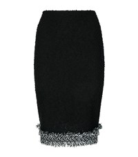 St. John Fringed Boucle Knit Skirt Female Black