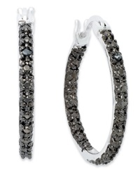 Victoria Townsend Sterling Silver Earrings Black Diamond Accent In And Out Hoop Earrings