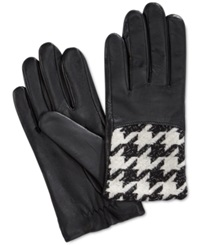 Charter Club Fleece Lined Tech Leather Gloves Only At Macy's Black White
