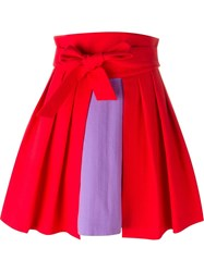 Olympia Le Tan High Waist Colour Block Pleated Full Skirt Red