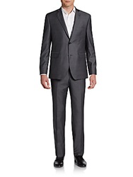 Saks Fifth Avenue Red Trim Fit Wool Two Button Suit Grey