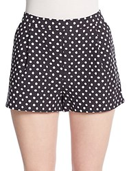 Band Of Outsiders Pleated Polka Dot Cotton Shorts Black