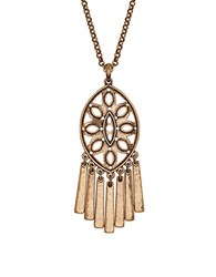 Lucky Brand Heritage Holiday Fringed Medallion Necklace Gold