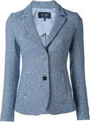 Armani Jeans Woven Fitted Blazer Blue