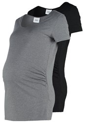 Mama Licious Mllea Nell 2 Pack Basic Tshirt Black Med Grey Melange