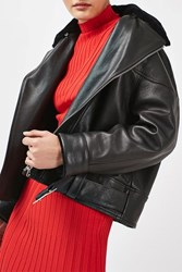 Topshop '80S Leather Aviator Jacket By Boutique Black