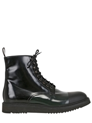 Neroh Brushed Leather And Rubber Lace Up Boots Black Green
