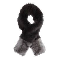 Mint Velvet Faux Fur Blocked Scarf Charcoal