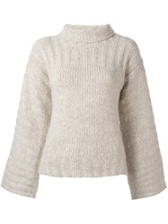 See By Chloe Bell Sleeve Jumper Nude And Neutrals
