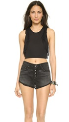 Riller And Fount Poppy Fringe Crop Top Coal