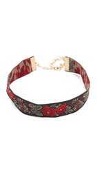 Vanessa Mooney Rose Ribbon Choker Necklace Black Red