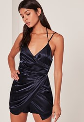 Missguided Navy Silky Ruched Asymmetric Playsuit