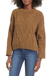 J.O.A. Women's J.O.A Cable Knit Sweater Olive