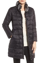 Linda Richards Women's Reversible Genuine Rabbit Fur And Down Coat