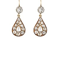 Renee Lewis Women's Antique White Diamond Teardrop Cluster Earrings No Color