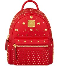 Mcm Stark Special Bebe Boo Leather Backpack Ruby Red