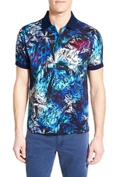 Bugatchi Men's Abstract Print Short Sleeve Polo Night Blue