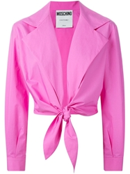 Moschino Tie Front Jacket Pink And Purple