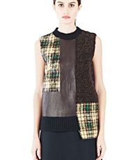 Gauchere Gretta Leather Tweed Patchwork Top Brown