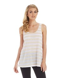 Kensie Mesh Striped Tank Heather Quicksand