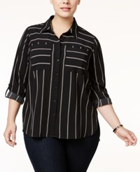 Ny Collection Plus Size Striped Utility Blouse Noir Dual