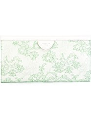 Rochas Floral Pattern Print Magnet Fastening Clutch Bag Green
