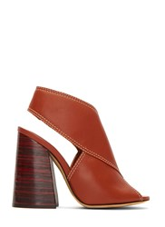 Ellery Winston Leather Block Heeled Sandals Brown