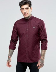 Fred Perry Shirt With Polka Dot In Mahogany In Slim Fit Mahogany Red