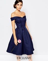 Chi Chi London Midi Prom Dress With Full Skirt And Bardot Neck Navy