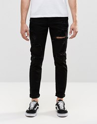 Dr. Denim Dr Clark Slim Jeans Black Ripped Knee And Thigh Black Ripped