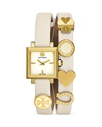 Tory Burch Saucy Charm Double Wrap Watch 25Mm Ivory