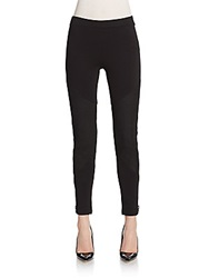 Haute Hippie Leather Trimmed Skinny Leggings Black