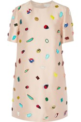 Stella Mccartney Kasey Stone Embellished Satin Twill Mini Dress Pink