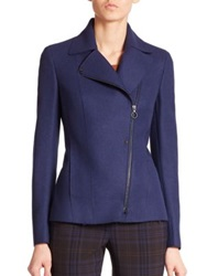 Akris Punto Raw Edge Wool Moto Jacket Ultramarine