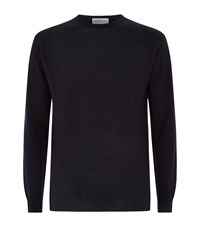 John Smedley Merino Wool Textured Knit Sweater Male Navy