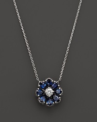 Bloomingdale's Sapphire And Diamond Flower Pendant Necklace In 14K White Gold 17 Blue
