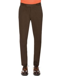 Berluti Flat Front Leather Trim Pants Brown