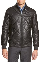 Men's Boss Quilted Lambskin Leather Trim Fit Jacket