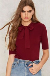 Peggy Pussy Bow Top Red