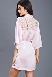Forever 21 Lace Paneled Satin Robe