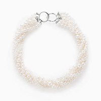 Tiffany And Co. Paloma Picasso Olive Leaf Torsade Pearl Necklace In Sterling Silver.
